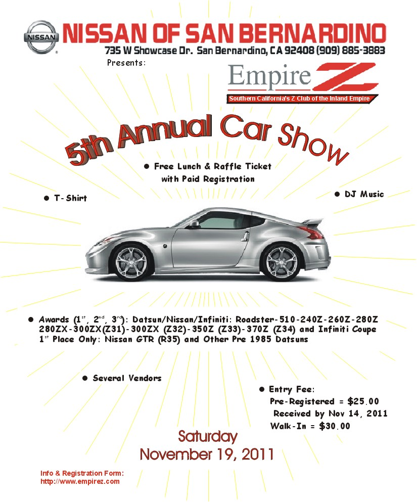 Nissan Of San Bernardino Th Annual Car Show - Car show award categories